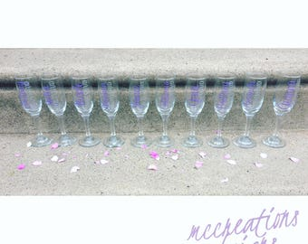 Bridesmaid champagne glasses/ wedding party/ bridal party glass/ bachelorette party/ groomsmen/ personalized glass/ wedding