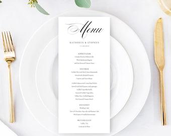 Classic Wedding Menus Template Download, Printable & Editable Calligraphy Wedding Menu, A4, US Letter Wedding Menu PDF Instant Download.