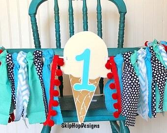 Boys Ice Cream Rag Banner, Ice Cream High Chair Banner, Ice Cream First Birthday Party, Boy Ice Cream Party Decor, Boy first birthday