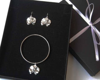 A Set of Orchid Earrings and Bangle/Handmade Sterling Silver Orchid Bangle and Earrings/Sterling Silver Flower/Silversmith Jewellery