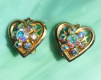 Heart Earrings | Rhinestone Earrings | Crystal Earrings | Heart Jewelry | Rhinestone Jewelry | Vintage Jewelry