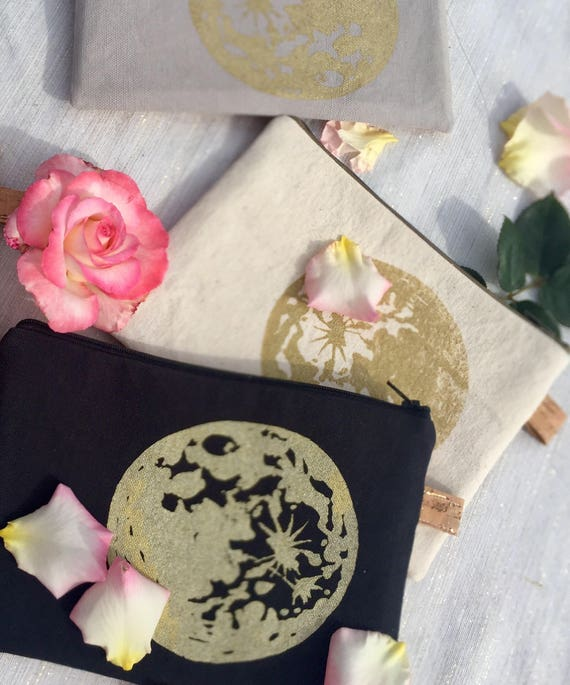 Cork and canvas zippered pencil pouches in lovely neutral colors with original screenprinted moon design in gold.  Very Elegant!