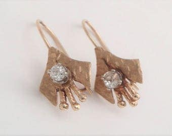 Antique Mine Cut Diamond and 14k Gold Dangling Earrings 1880s