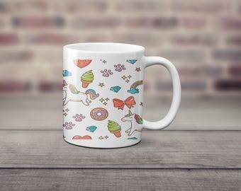 Unicorn, donut and ice-cream coffee mug, great gift not vinyl and dishwasher safe coffee mug