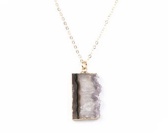 Rectangular Raw Amethyst Slice Pendant Necklace
