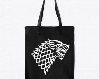 Direwolf Game of Thrones Horror Canvas Tote Bag Market Pouch Grocery Reusable Halloween Merch Massacre Black Friday Christmas