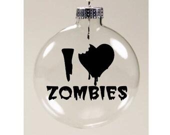 I Love Zombies Walking Dead Christmas Ornament Glass Disc Holiday Horror Merch Massacre