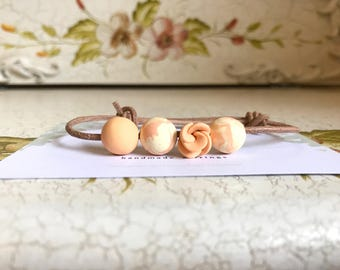 Beaded Clay Bracelet (orange)