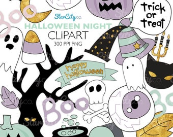 Halloween clipart, Halloween night clipart, Cat clipart, pumpkin clipart, Pastel Halloween clip art, Digital Graphics, commercial use