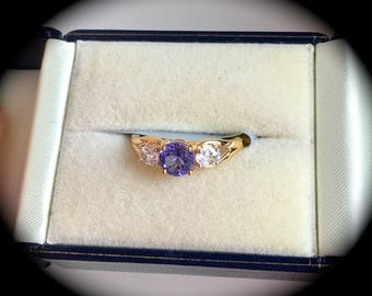 Tanzanite and White Sapphire Ring 9ct Y Gold Size N 1/2 (US 7) - 'Certified AA' - Beautiful Gemstones!