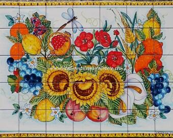 Hand Painted Italian Tile Mosaic - Amalfi Coast - Colorful Wall Art - Coastal Decor Beach - Tile Mural - Gloss Tiles - Home Tile Art
