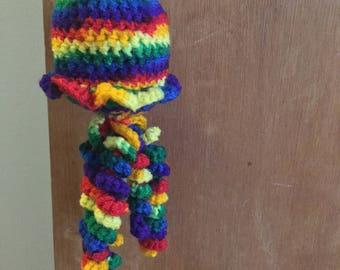 Handmade Catnip Crochet Hanging Rainbow Jellyfish Cat Toy