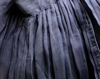 DRIES VAN NOTEN navy blue silk skirt with full pleats