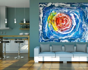 SOLD -Space, galaxy, outer space, original art work, Abstract art, Resin Art, star, Sun, Universe, Stars, Blue, Silver, Red, White, Planet