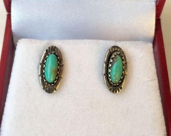 Signed Native American Turquoise 14K Gold Posts Sterling Silver 925 Stud Earrings