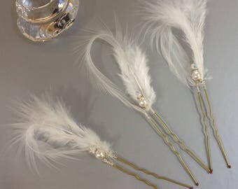 Swarovski AB Crystal, White Pearl & White feather bridal hair pins set of 3