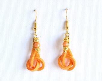 Clearance * orange suede golden earrings