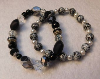 Black Bead Stretch Bracelet Set