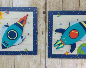 Spaceship Wood Decoration/Kids Bedroom/Wall Art/ Price is for the 2 frames