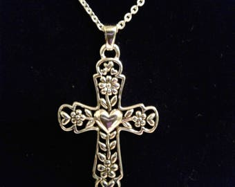 Silver Plated Cross Necklace  #136
