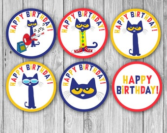 Pete the Cat Cupcake Toppers (Digital)
