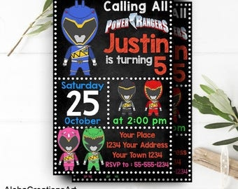 INSTANT DOWNLOAD - Power Ranger Invitation, Power Ranger Birthday, Power Ranger Party, Power Ranger Birthday Invitation,Superhero Invitation