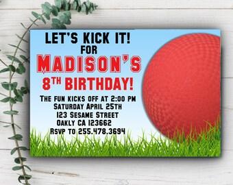Kickball Invitation, Sports Invitation, Kickball Birthday, Kick Ball Birthday Invitation, Printable Birthday Invite, Kickball Digital File
