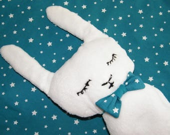 Plush white Bunny and starry sky