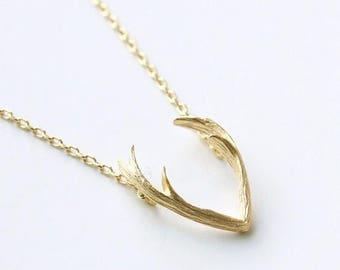 Antler Necklace,Gold Antler Necklace Pendant,Deer Antler Necklace,Gold Deer Antler Necklace,Antler Jewelry,Gold Antler Jewelry