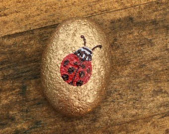 Painted Rock - Ladybug and Gold