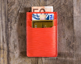 Coral leather wallet leather, credit card holder, business card holder, slim wallet, travel wallet, cardholder in leather, minimal wallet