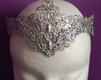 Diadème Tiara Crown silver necklace headband metal