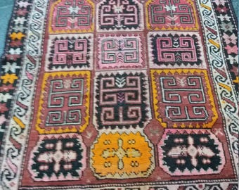 """Oushak rug,Vintage Oushak Rug,Oushak Orange Rug,Vintage Rug,2'10×3'11""""Ft,Home Living,Area Rug,Pastel Colors,Rugs, Rug"""