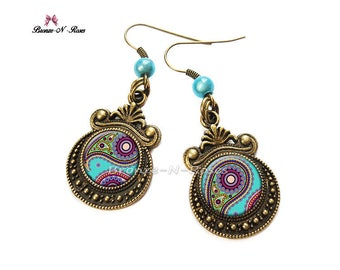 Earrings * Indian paisley * bronze blue glass cabochon