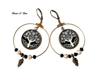 Earrings Creole tree art pendants bronze-n-roses aubrey beardsley