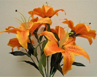 "ORANGE Jumbo Tiger Lily 7 Artificial Silk Flowers Bush 21"" Bouquet 8303OR"