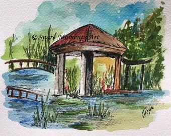 Gazebo/Ink and Watercolor/Gazebo watercolor/Nature scene/5 x 7 painting/home decor/gazebo art painting/unframed painting/gazebo art scene
