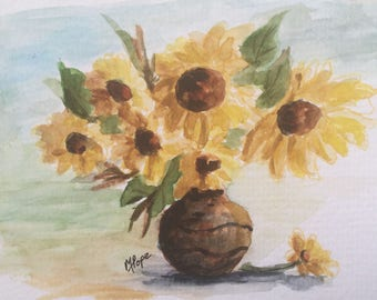 Sunflowers greeting Card/Watercolor greeting card/Card and envelope/Sunflowers in vase/Sunflowers art/Sunflowers watercolor/Watercolor card