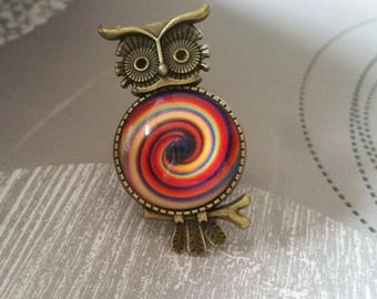 spiral OWL cabochon ring