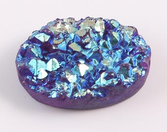 Awesome Natural Druzy A Beautiful Quartz Blue Colour With Shining Oval Shape 36 Cts. Size 19 X 22 X 7 Code MGJ 198