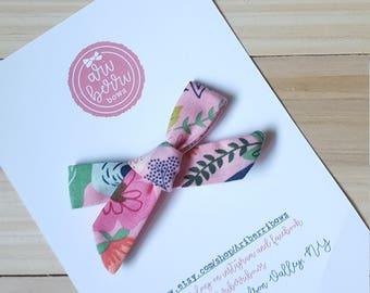 Pink Floral Schoolgirl Bow