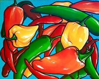 Peppers/Original art, Contemporary art, Montana artist, Acrylic painting, Pop, Art collectors, Colorful, Pepper lovers, Wall art, Decor