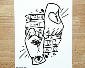 Digital Print: 'Let's Not Fight, Let's Unite' Hands - Inspired by Al Barry & The Cimarons