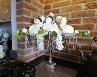 Vintage Flower and Bead Wedding Centrepiece