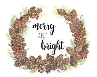 Merry & Bright Pinecone Wreath