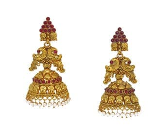 Hand Crafted Indian Temple Jewellery Matt Gold Earrings