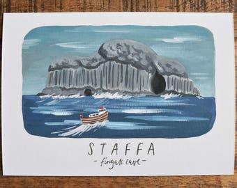 Isle of Staffa print, Staffa art, Mull print, Isle of Mull, Isle of Iona, Iona print, scottish art, scottish gifts, highland art, Scotland