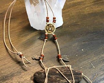 Driftwood Bone Leather Necklace