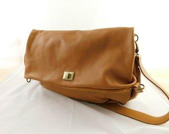 Brown handmade leather shoulder bag - New