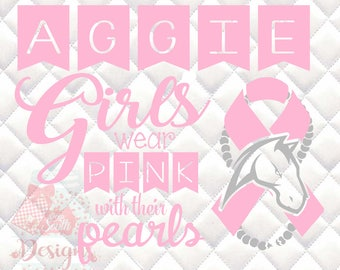 Aggie Mascot Pink and Pearls - Breast Cancer Awareness - SVG, Silhouette studio and png bundle